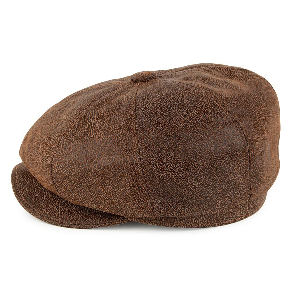 Sixpence Flat Cap Jaxon Hats Leather Newsboy Cap Brun