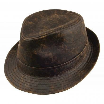 Hatte - Jaxon Weathered Cotton Trilby (brun)