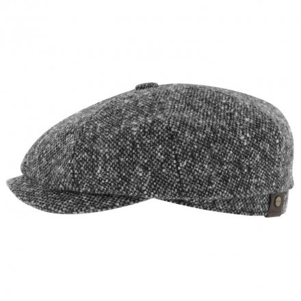 Sixpence / Flat cap - Stetson Hatteras Donegal Tweed (sort-hvid)