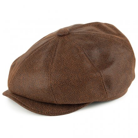 Sixpence / Flat cap - Jaxon Hats Leather Newsboy Cap (brun)