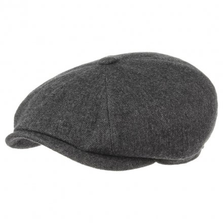 Sixpence / Flat cap - Stetson Hatteras Cotton Herringbone (antracit)
