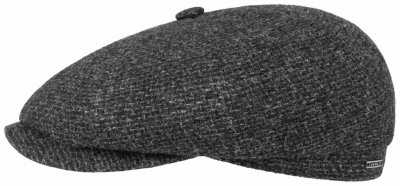 Sixpence / Flat cap - Stetson Hatteras Wool Rough (antracit)