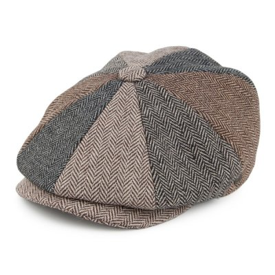 Sixpence / Flat cap - Jaxon Herringbone Patch Newsboy Cap (multi)
