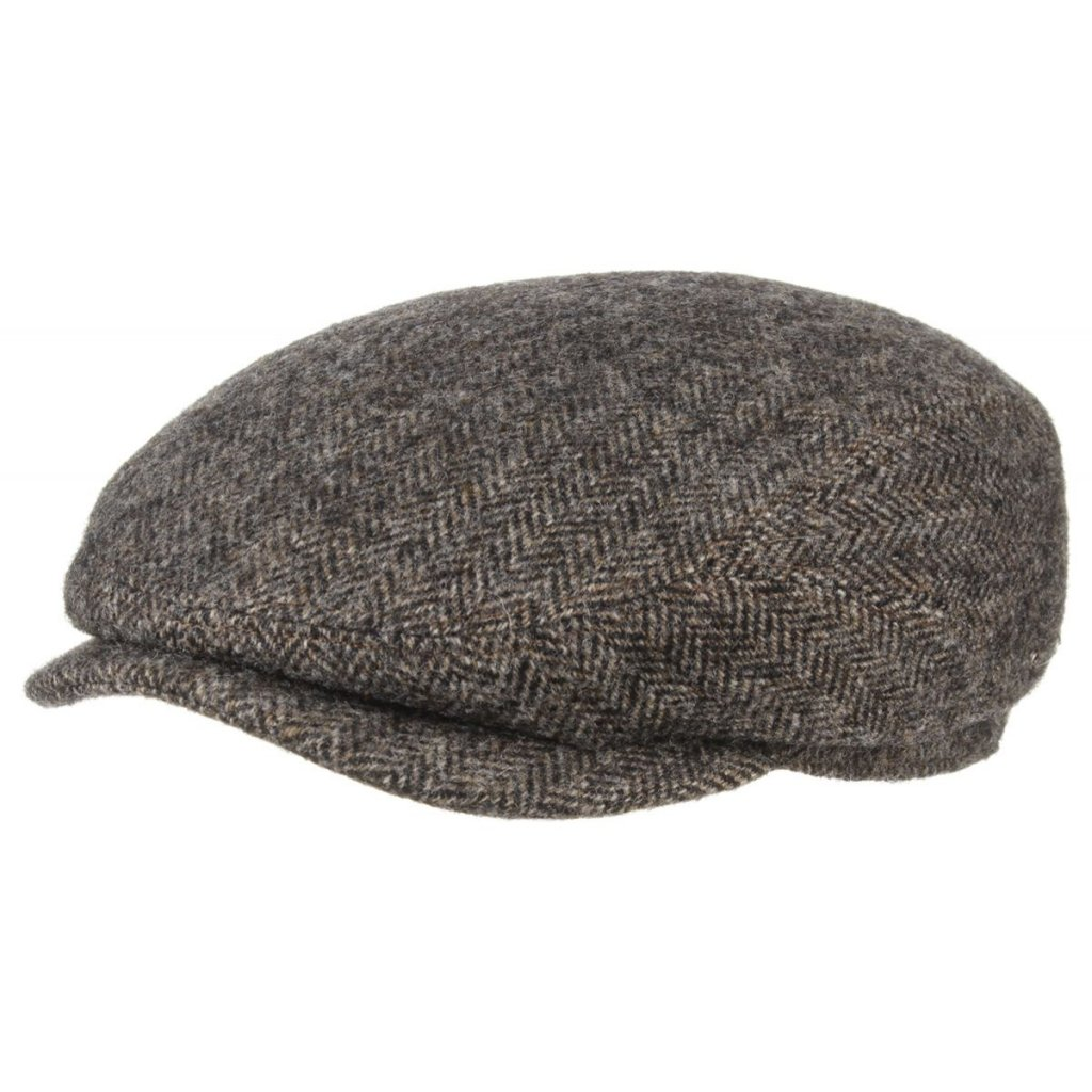 fresh styles new cheap order Sixpence / Flat cap - Stetson Belfast Woolrich Herringbone (grå-brun)