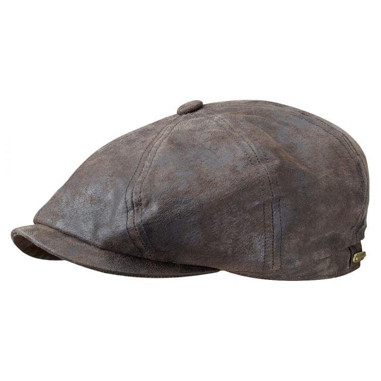 Sixpence   Flat cap - Stetson Hatteras Leather Flat Cap (brun ... 401d87c1f10